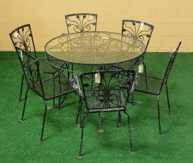 Assembled Wrought Iron Patio Dining Set