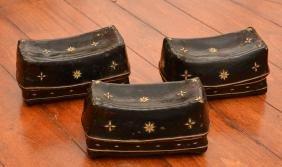 Set (3) Tibetan Lacquered Pillow Boxes