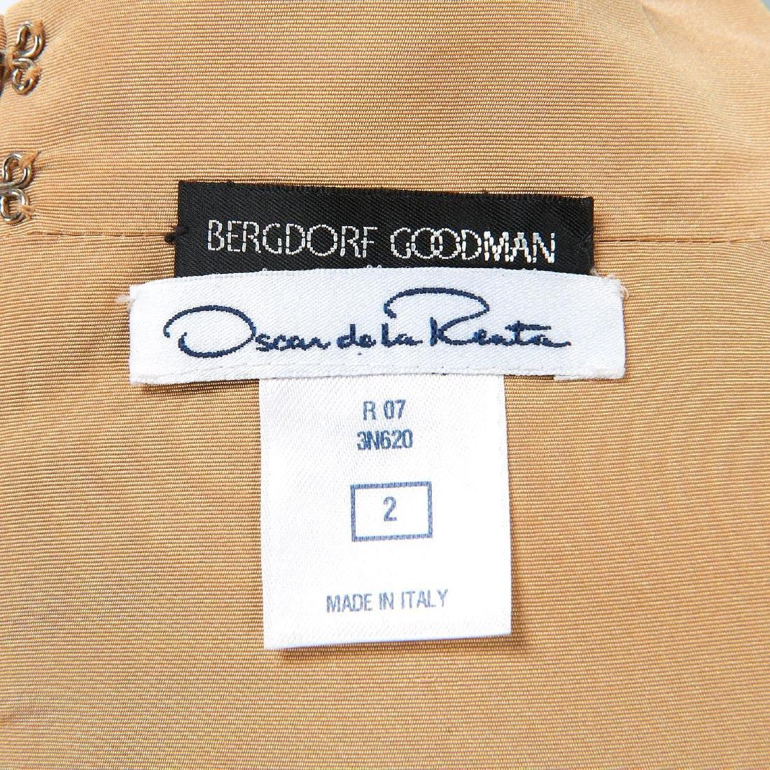 Oscar de la Renta gold silk cocktail dress - 6