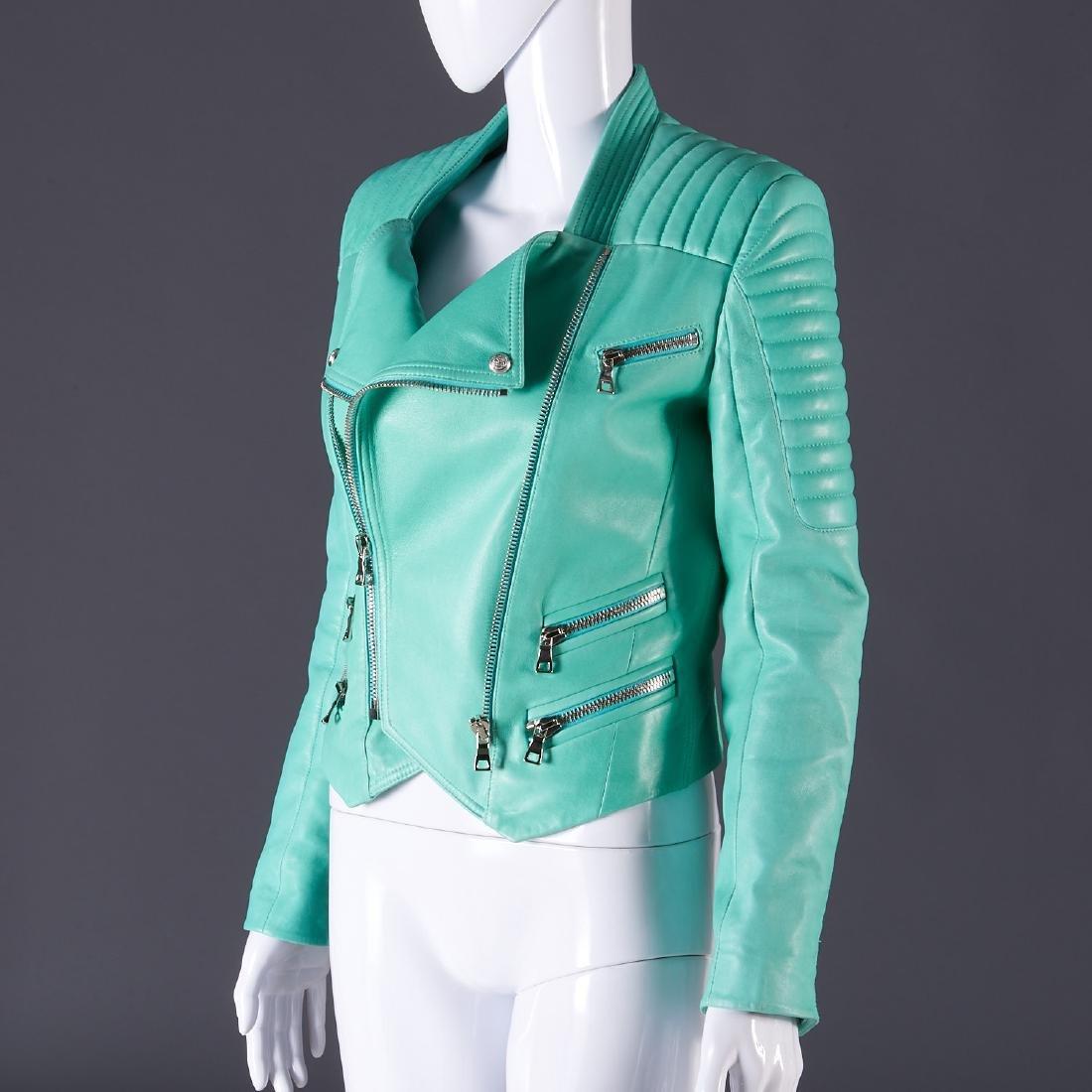 Balmain Paris turquoise lambskin jacket - 10