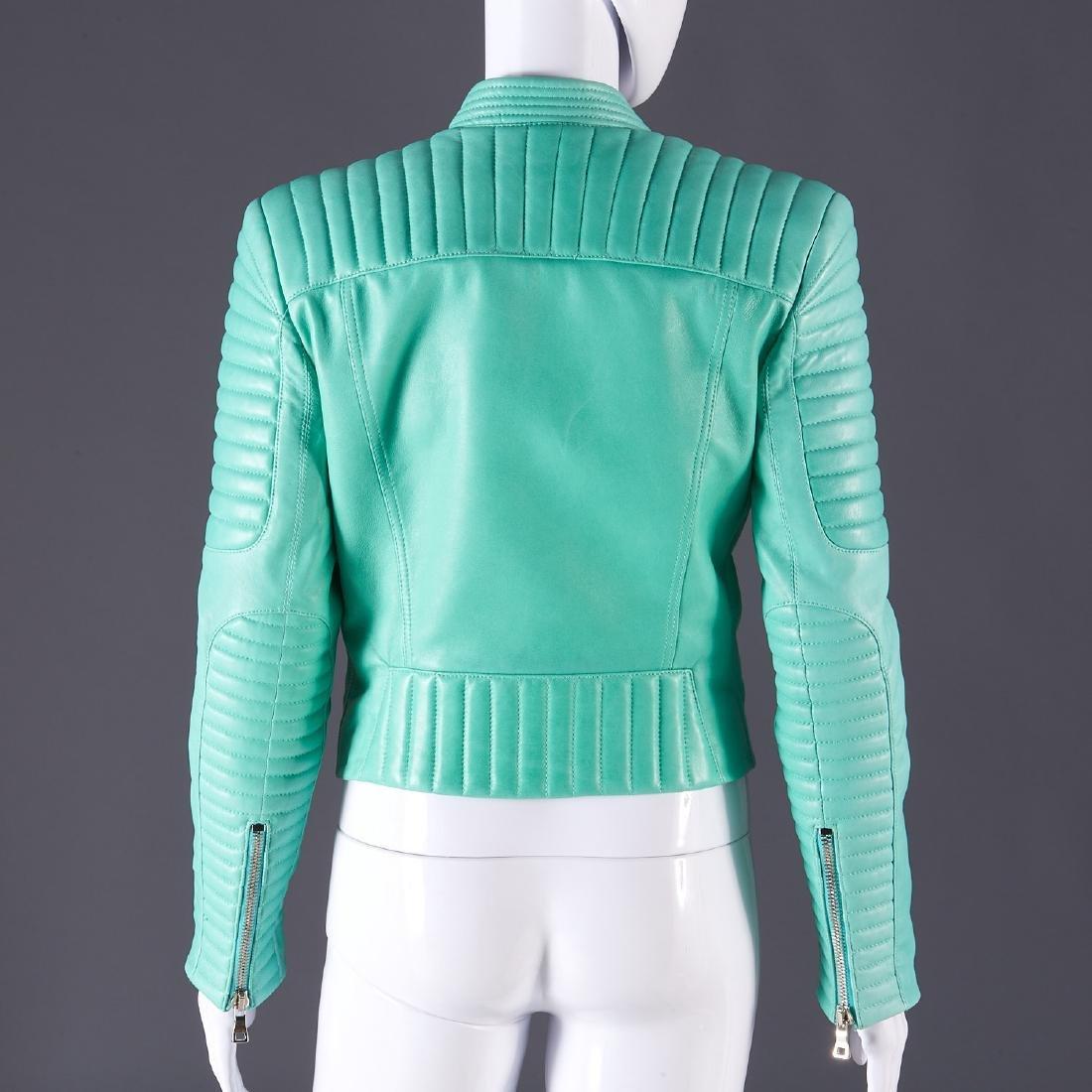 Balmain Paris turquoise lambskin jacket - 12