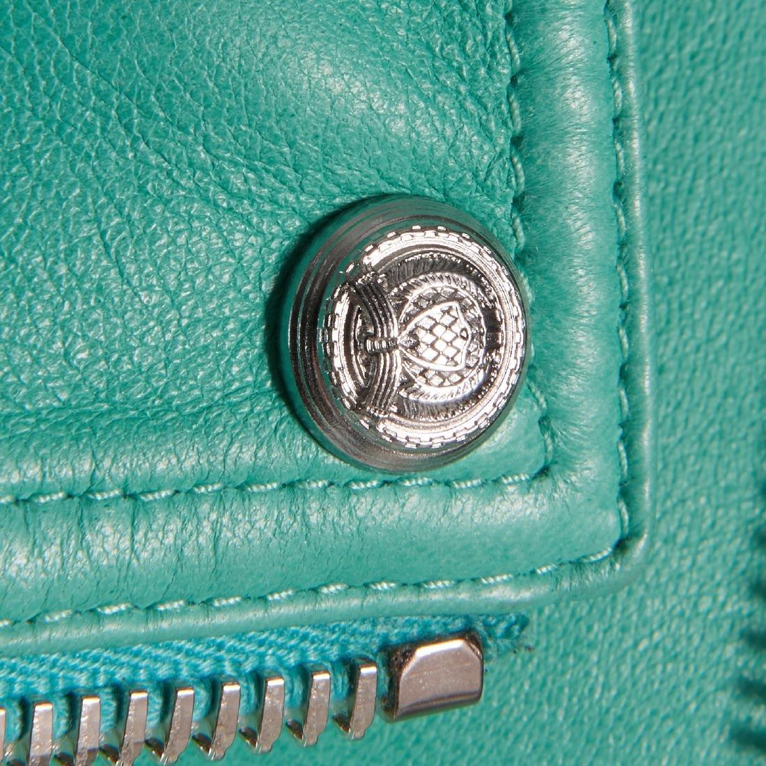 Balmain Paris turquoise lambskin jacket - 14