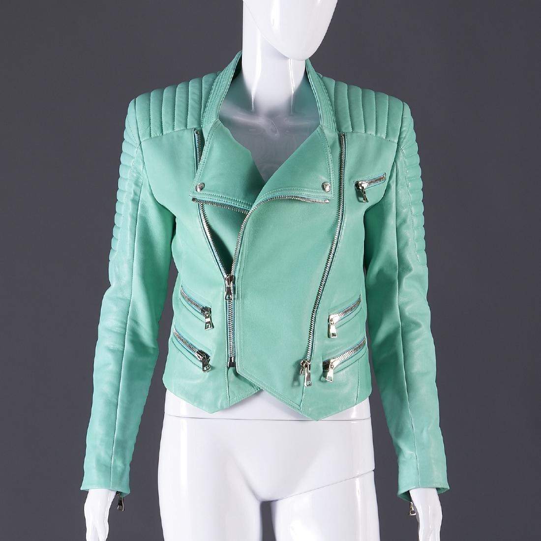 Balmain Paris turquoise lambskin jacket