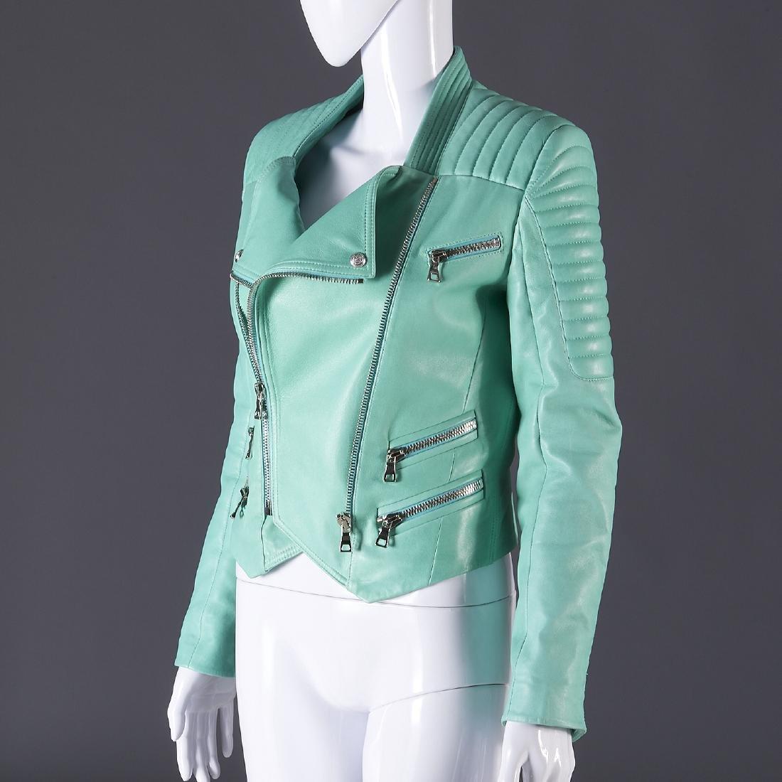 Balmain Paris turquoise lambskin jacket - 2