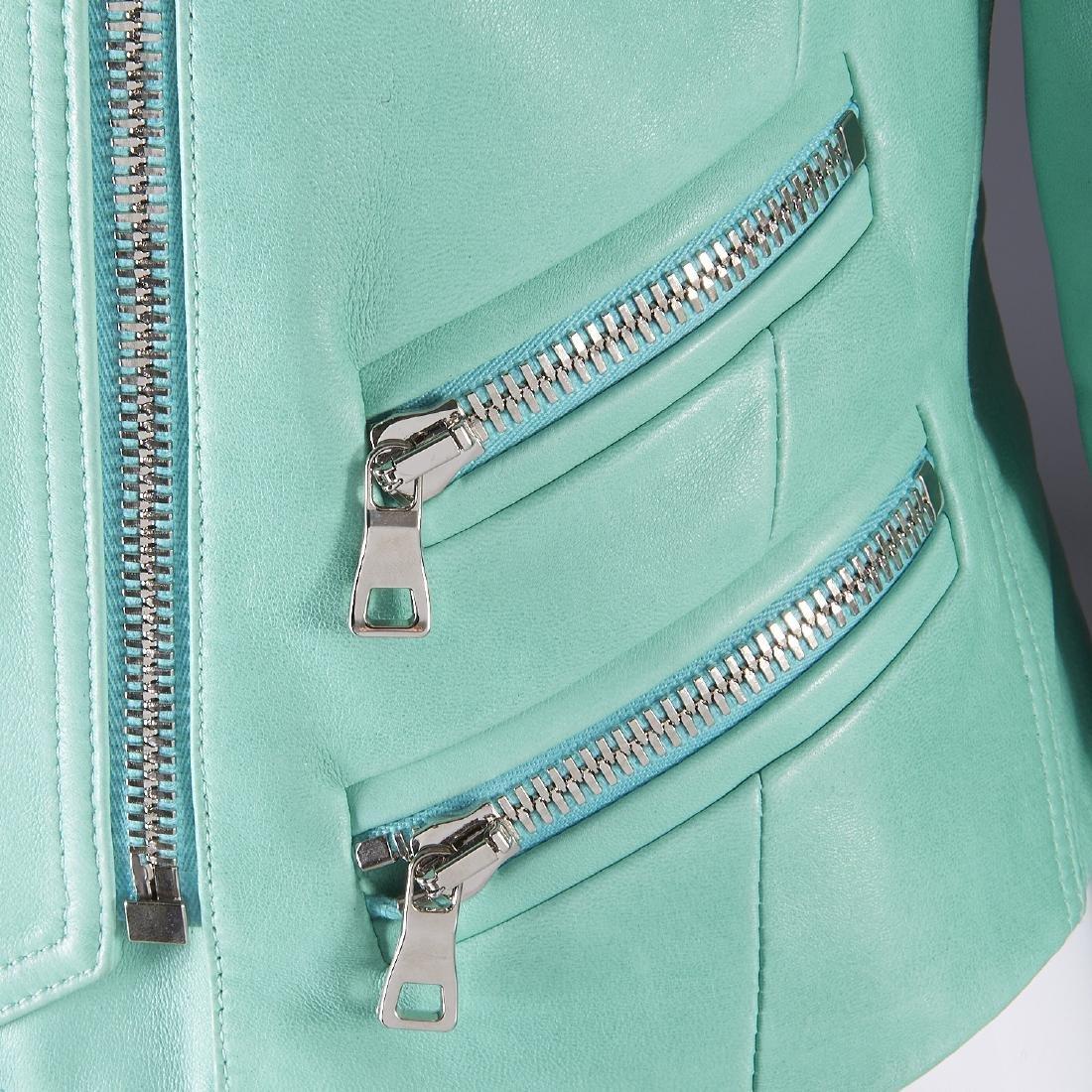 Balmain Paris turquoise lambskin jacket - 3