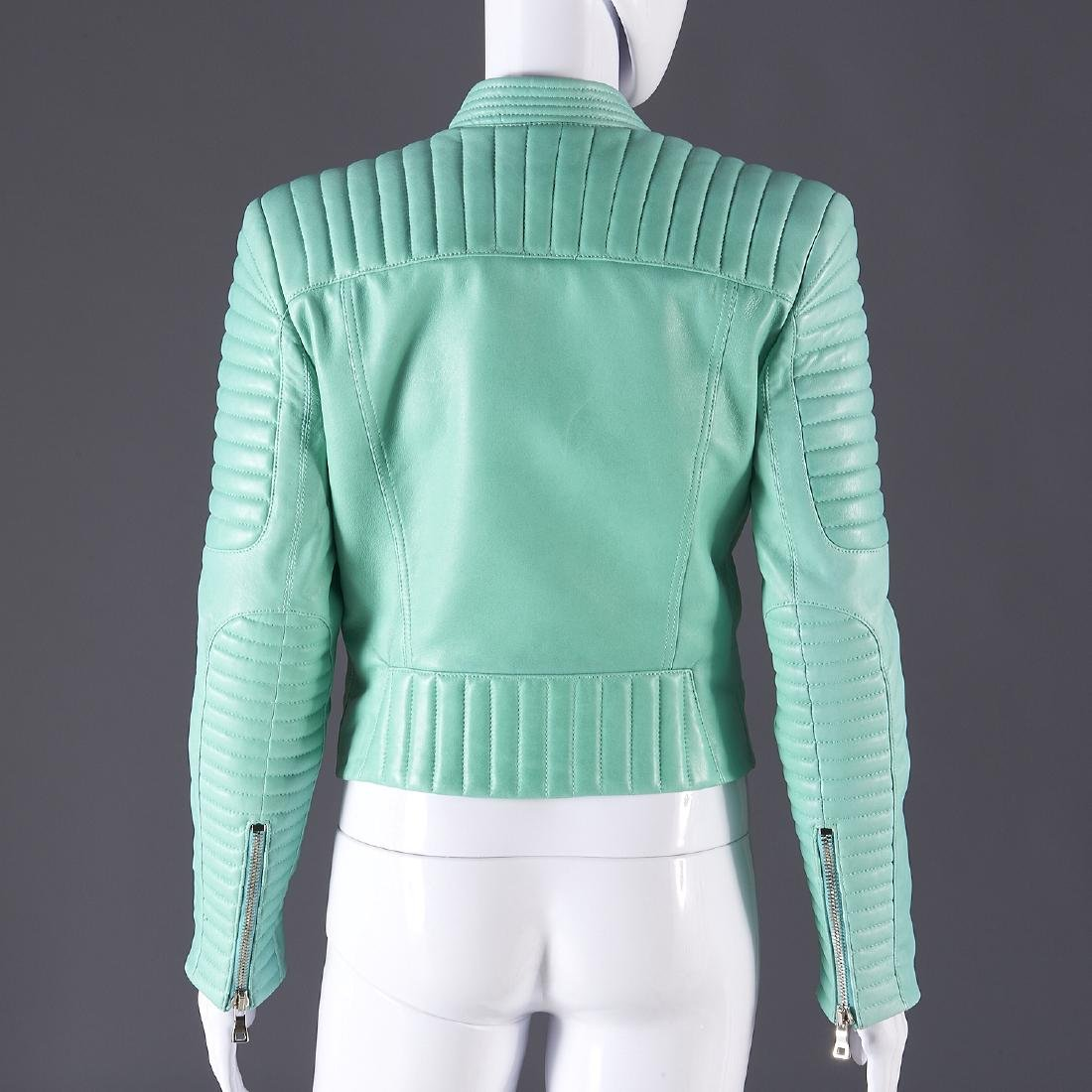Balmain Paris turquoise lambskin jacket - 4