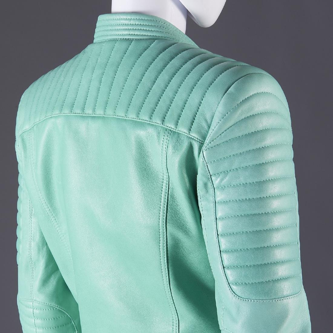 Balmain Paris turquoise lambskin jacket - 5