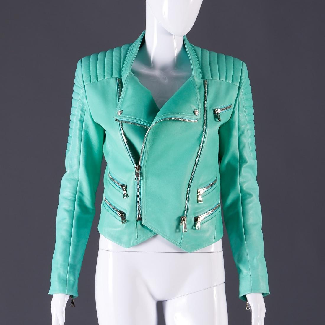 Balmain Paris turquoise lambskin jacket - 9