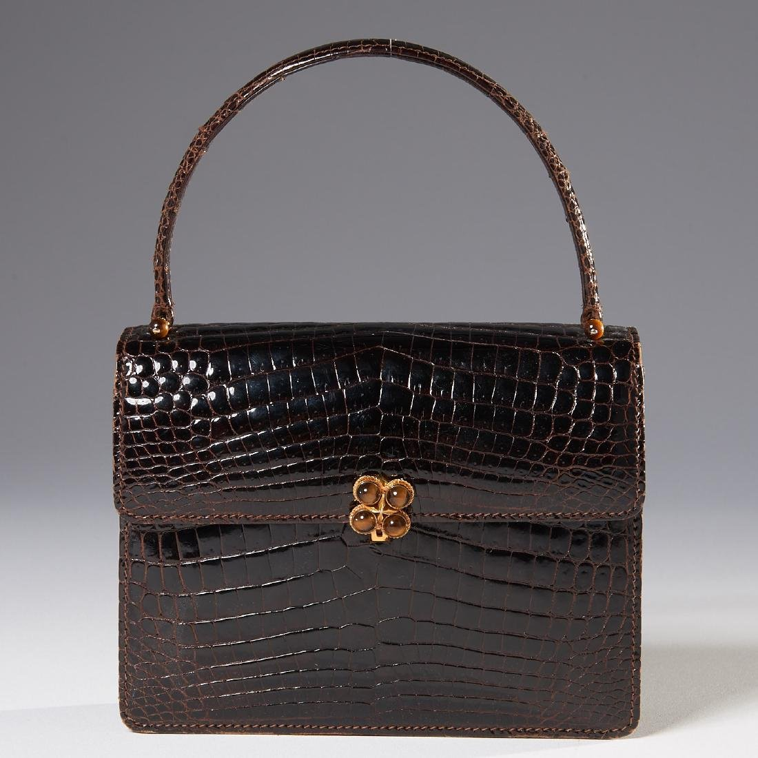 Gucci brown alligator handbag