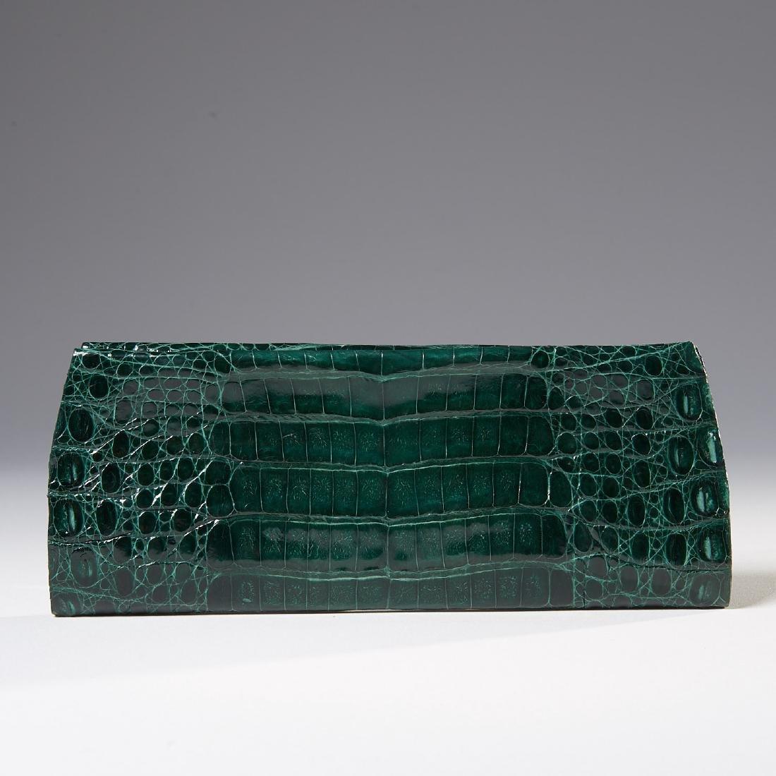 Gambelle green glazed crocodile clutch handbag
