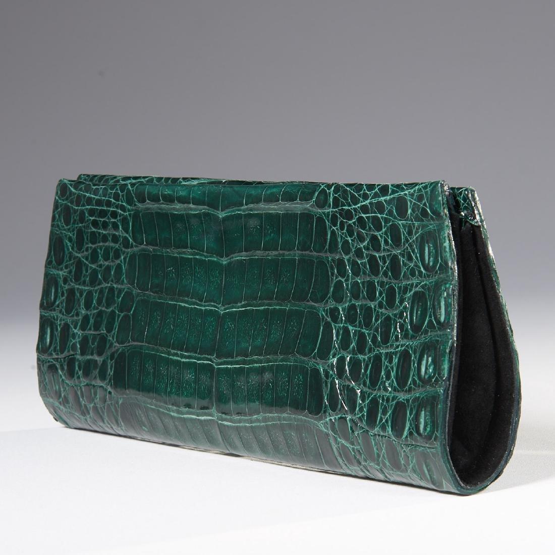Gambelle green glazed crocodile clutch handbag - 2