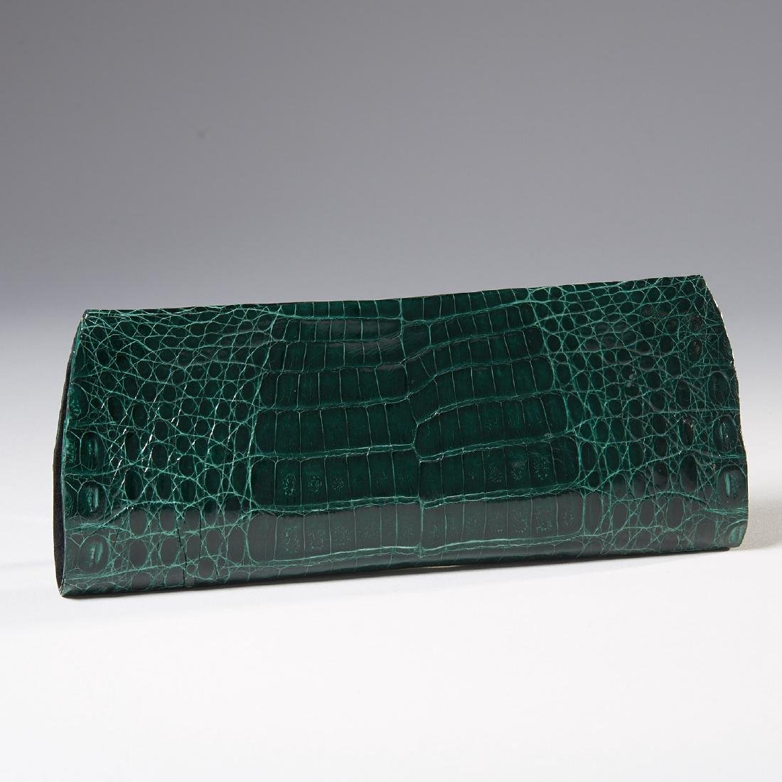 Gambelle green glazed crocodile clutch handbag - 3