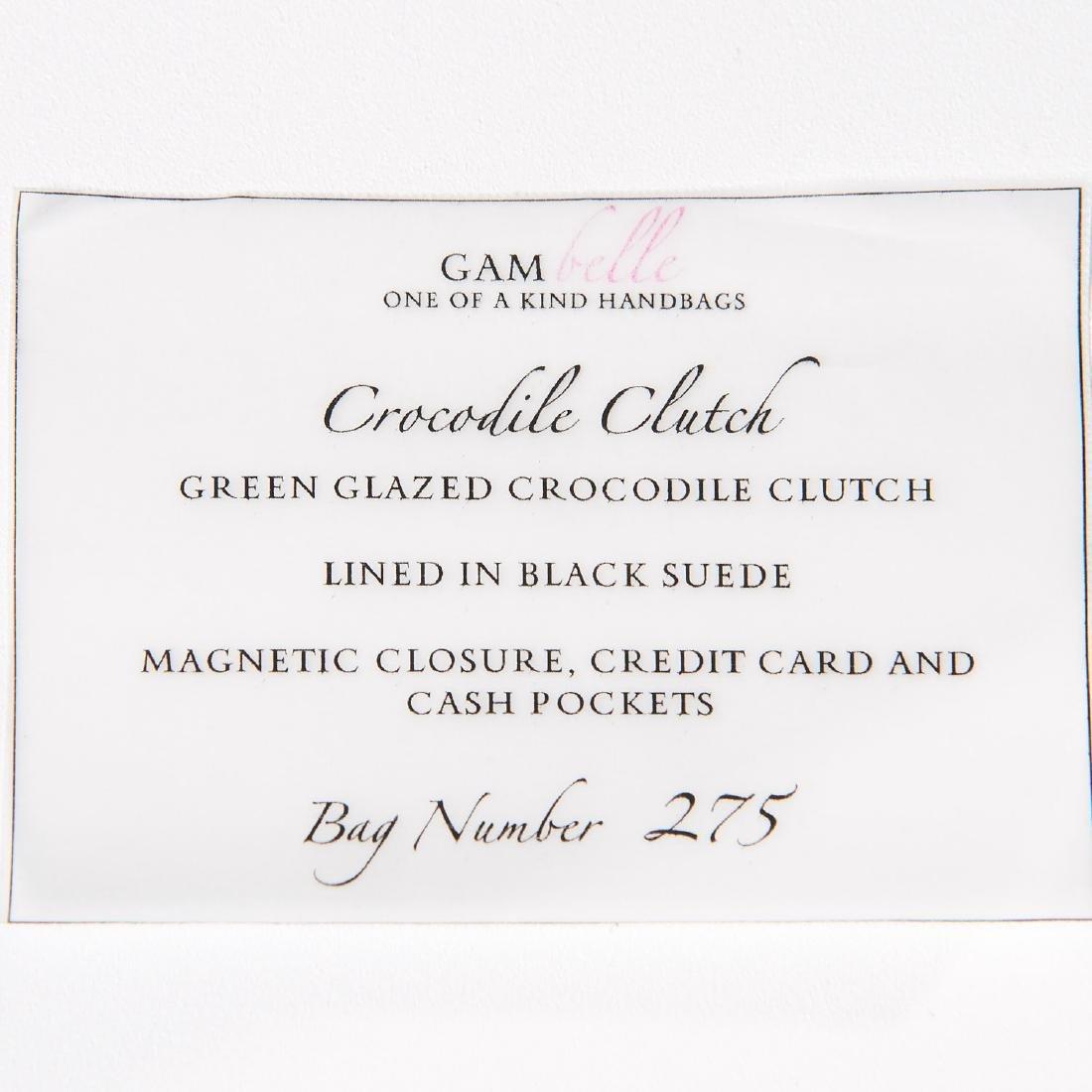Gambelle green glazed crocodile clutch handbag - 5