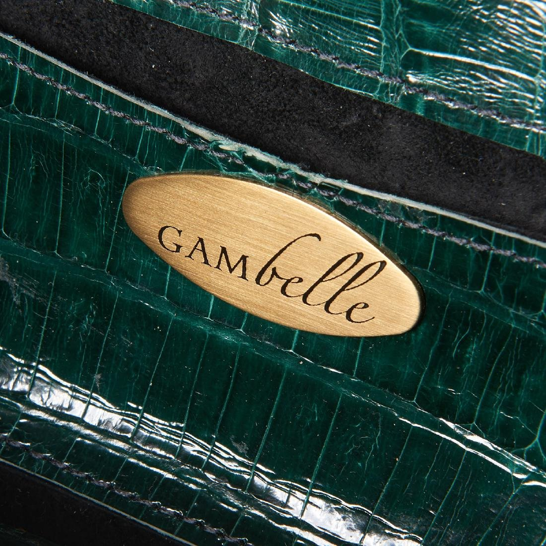 Gambelle green glazed crocodile clutch handbag - 6