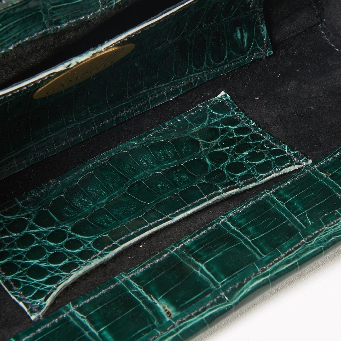 Gambelle green glazed crocodile clutch handbag - 7