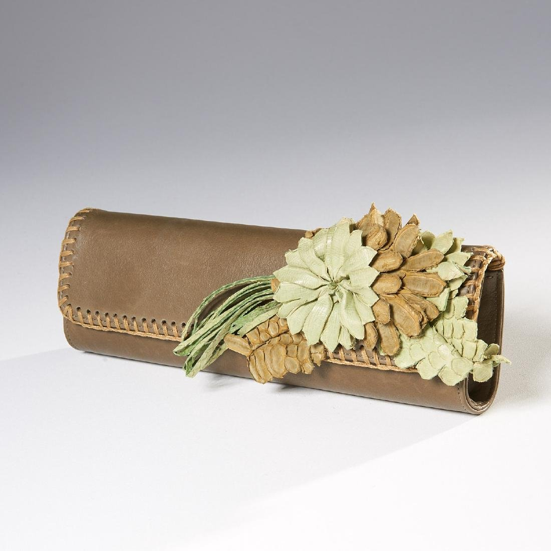 Carlos Falchi olive green clutch handbag