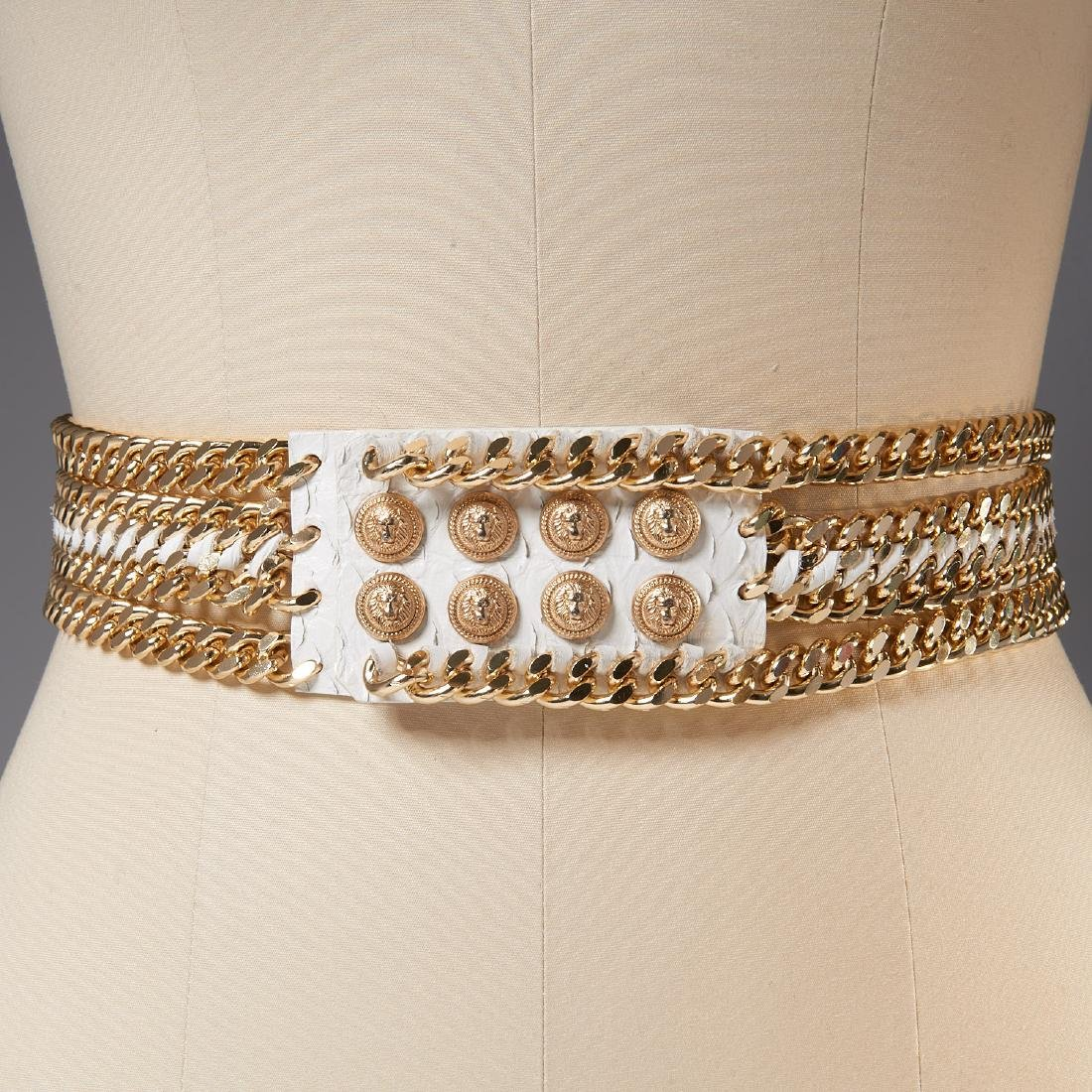 Balmain Paris white python and chain belt
