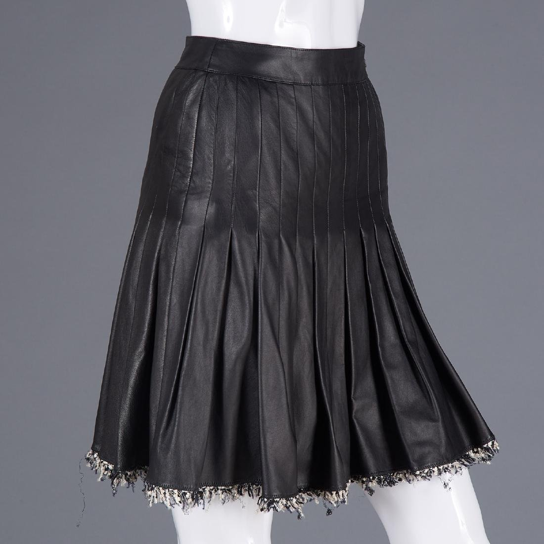 Chanel pleated lambskin leather skirt