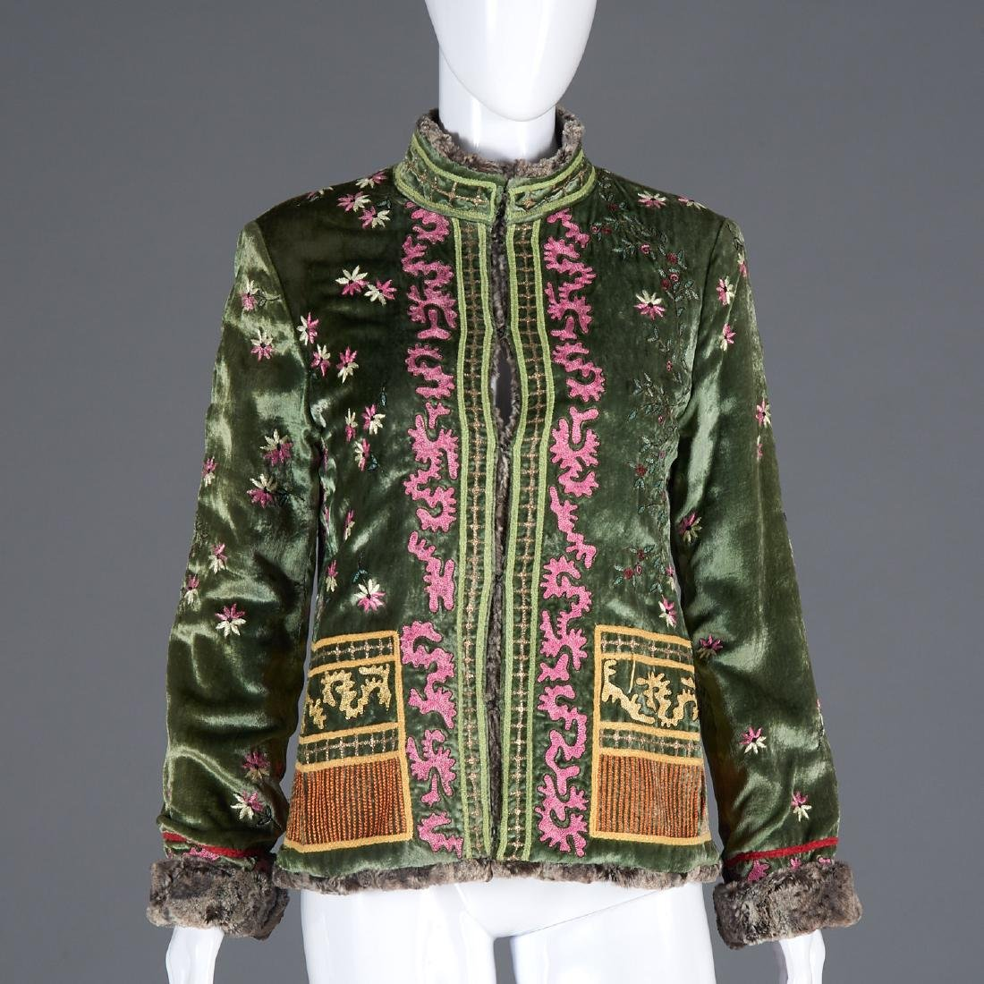 Couture faux fur silk velvet embroidered jacket