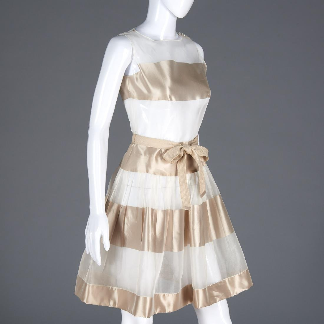 Sheer striped silk pleated cocktail dress