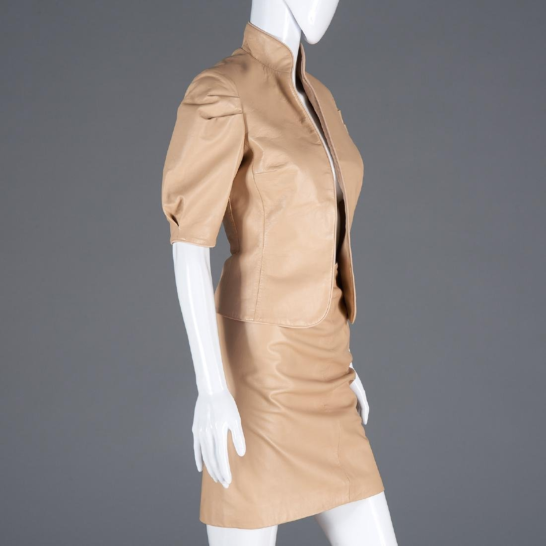 Richard Tyler Couture lambskin skirt suit