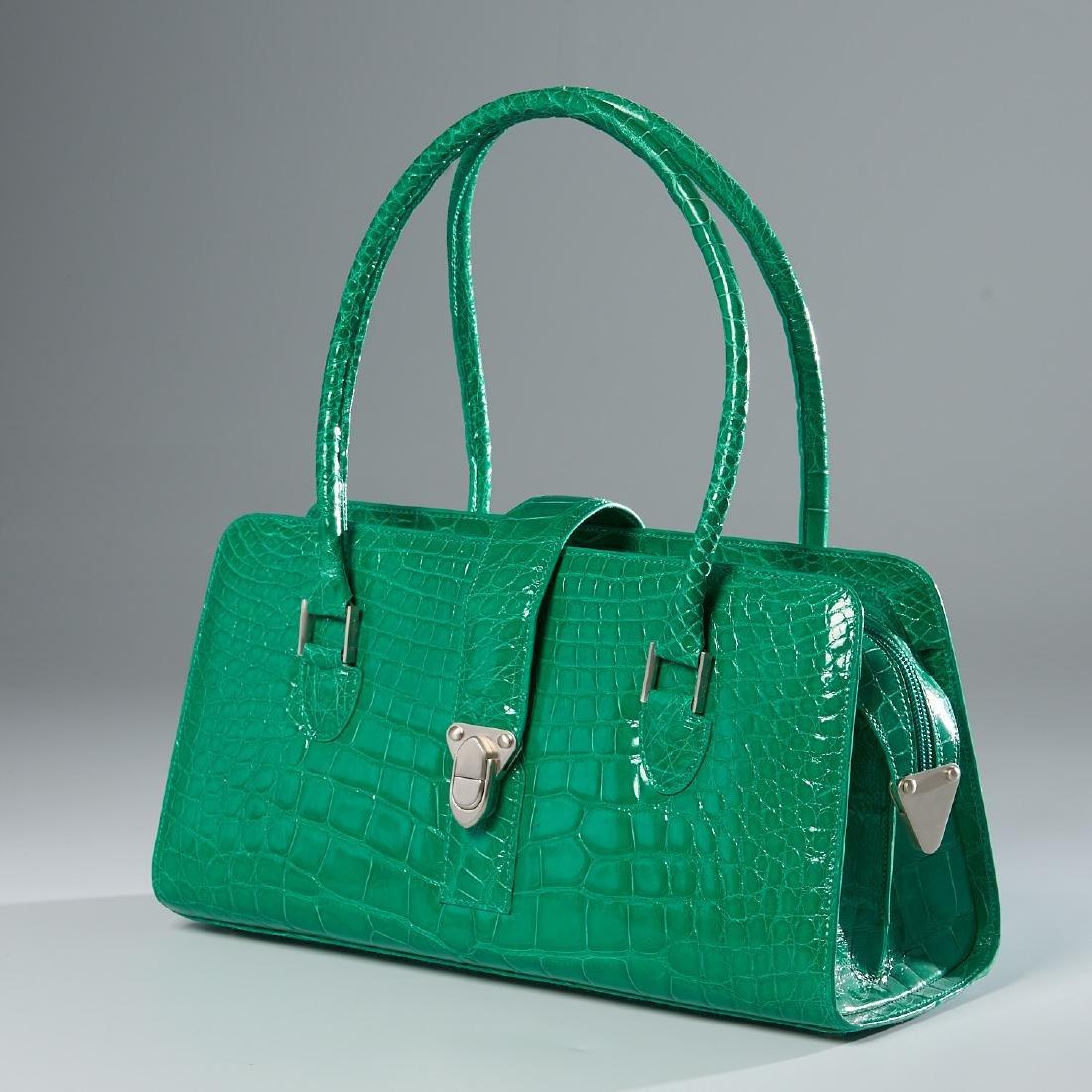 Manolo Blahnik kelly green crocodile handbag
