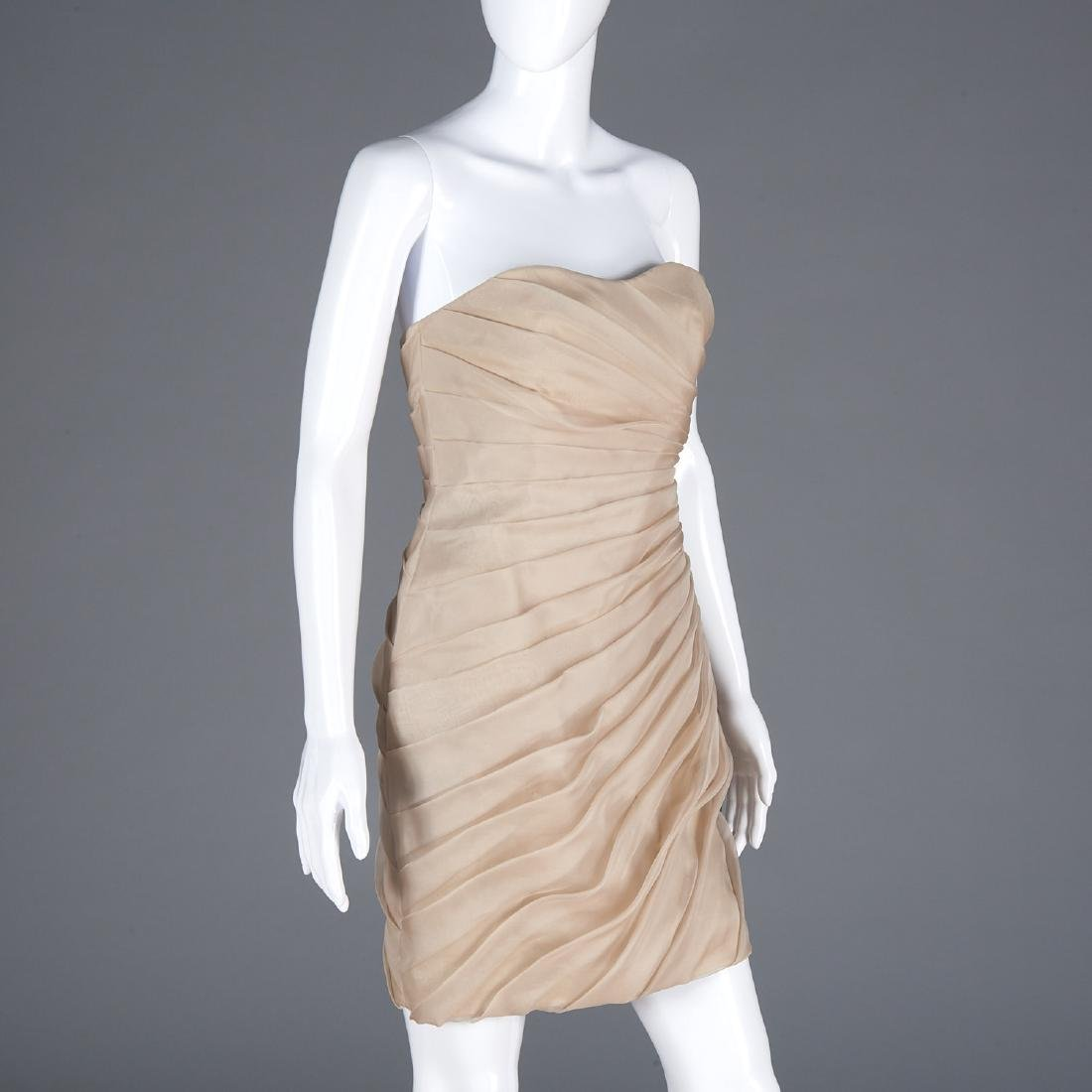 Christian Siriano ruched silk cocktail dress