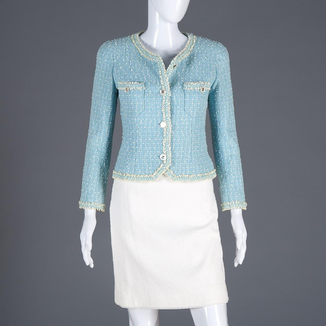 Chanel Boutique wool blend jacket and cotton skirt