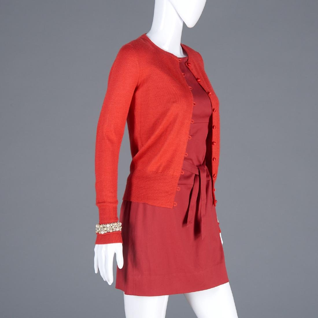 Tuleh cotton dress and cashmere blend cardigan