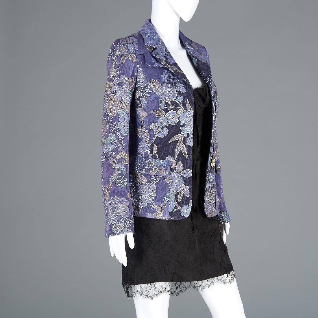 Tuleh brocade jacket and lace cocktail dress