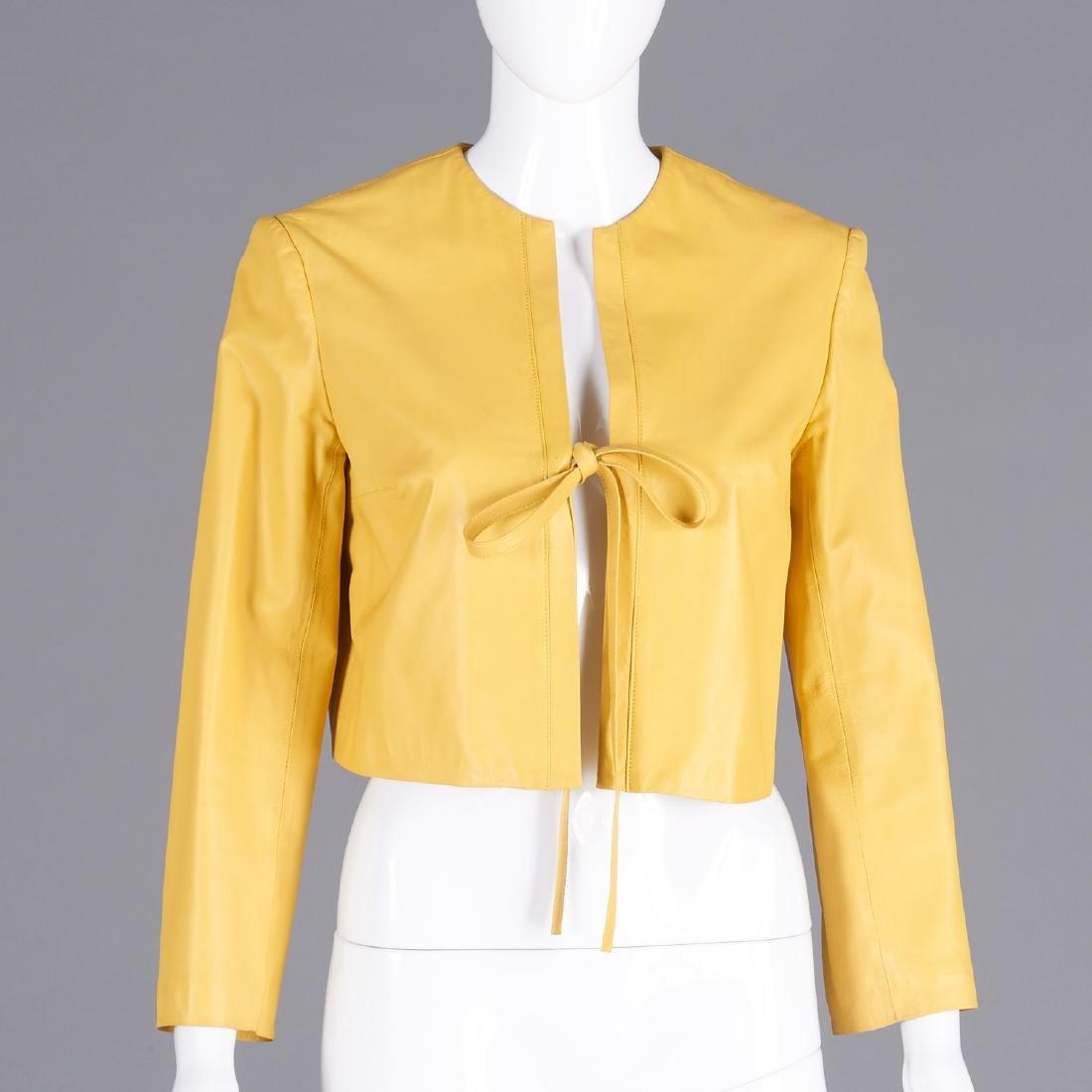 Jenni Kayne mustard lambskin cropped jacket