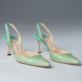 "Manolo Blahnik Snakeskin ""carolyne"" Shoes"
