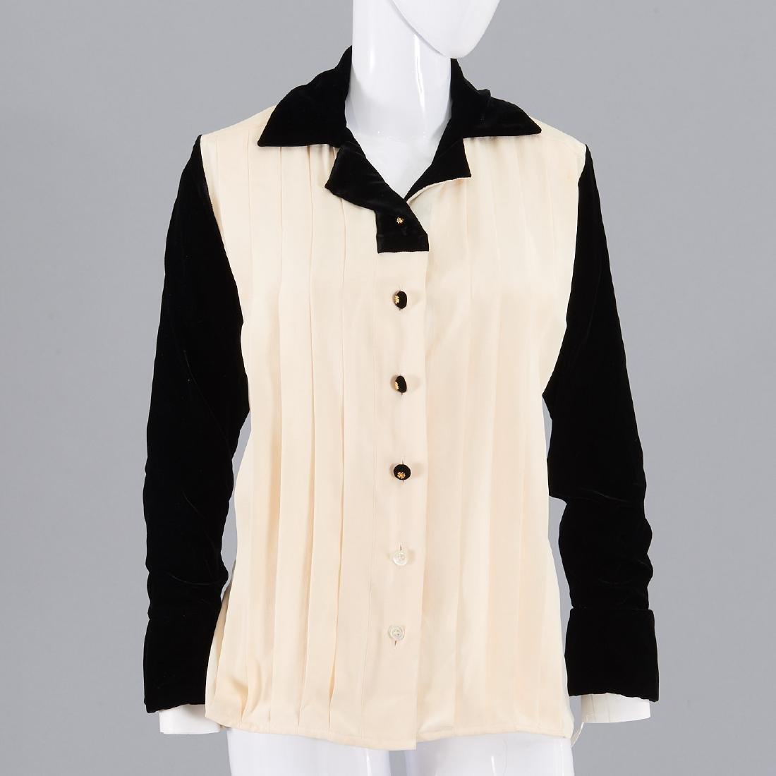 Chanel cream silk blouse with black velvet