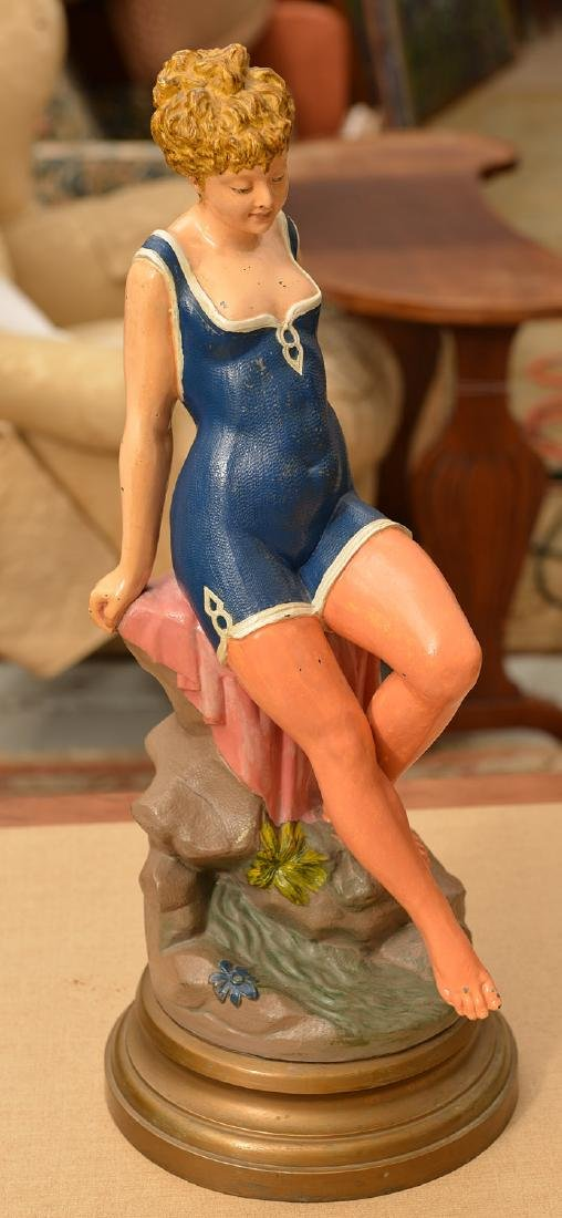Large painted metal statue of a Bathing Beauty