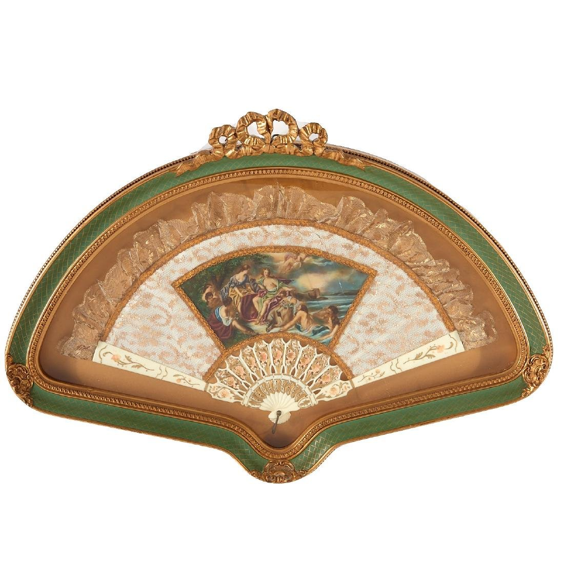 Ladies hand fan with painted panel