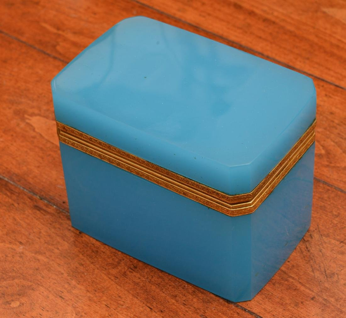 Antique French blue opaline glass box