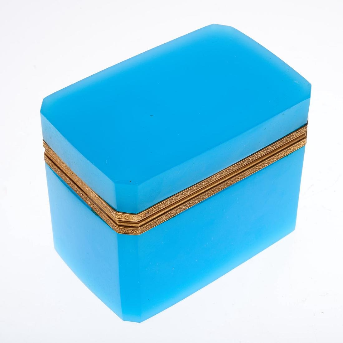 Antique French blue opaline glass box - 2