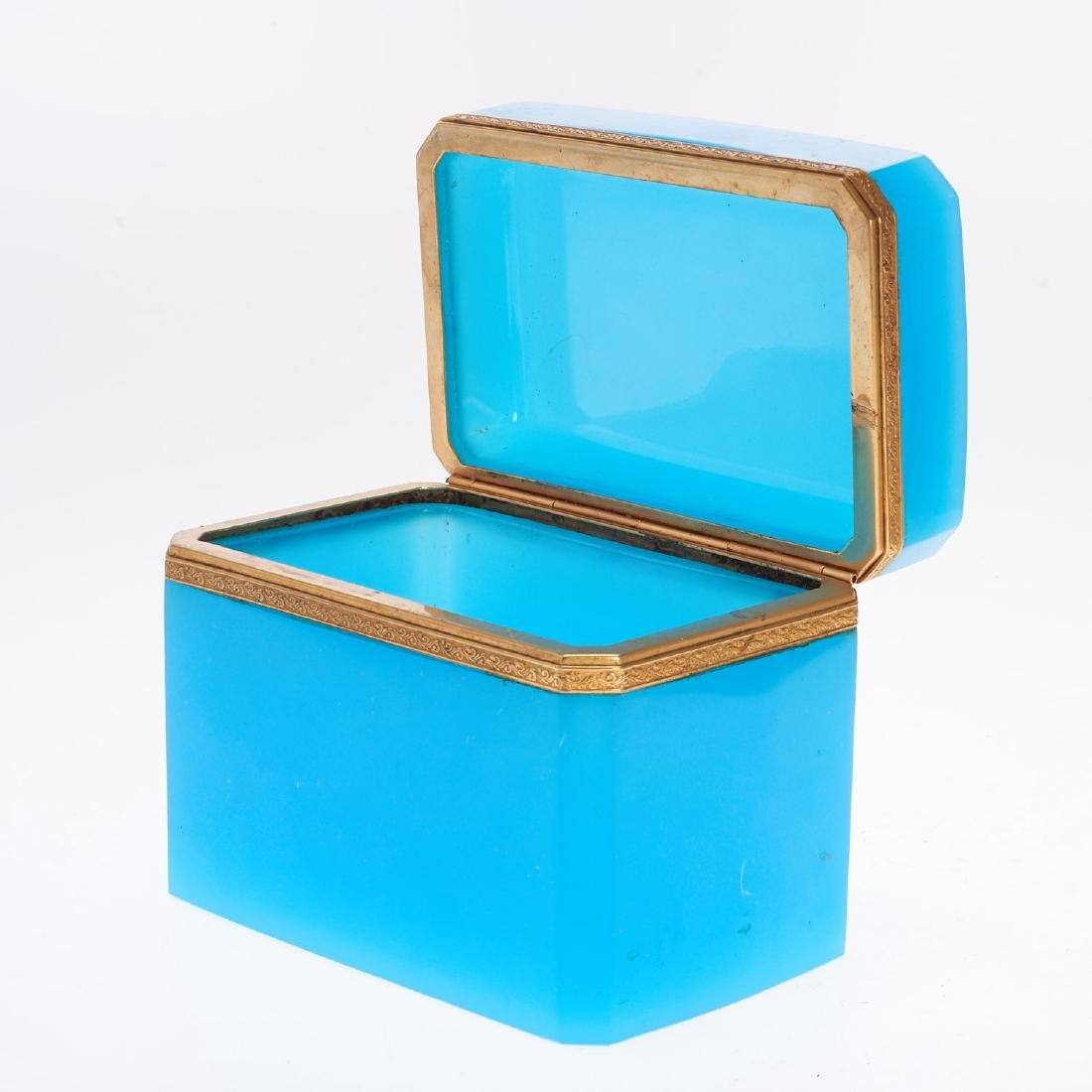Antique French blue opaline glass box - 3