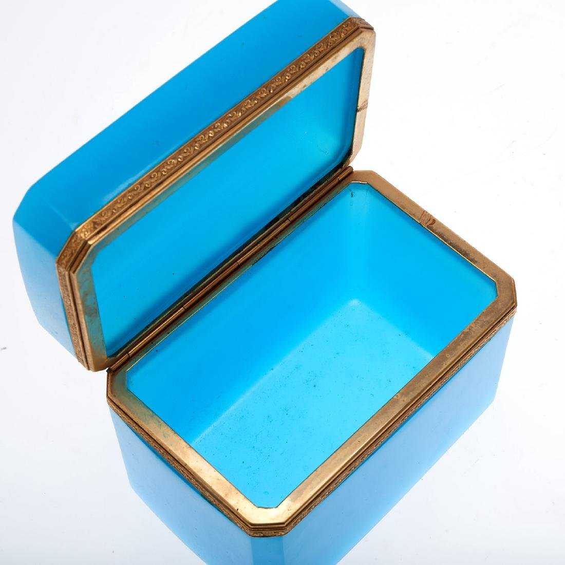 Antique French blue opaline glass box - 5