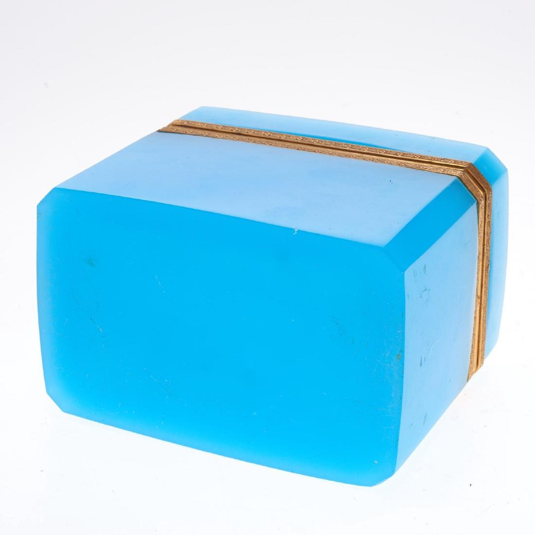 Antique French blue opaline glass box - 6