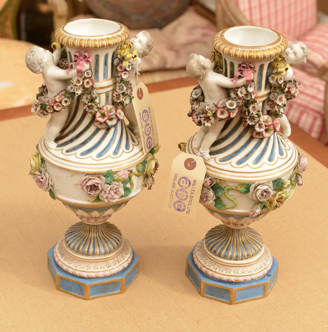 Pair Meissen style hand painted porcelain urns