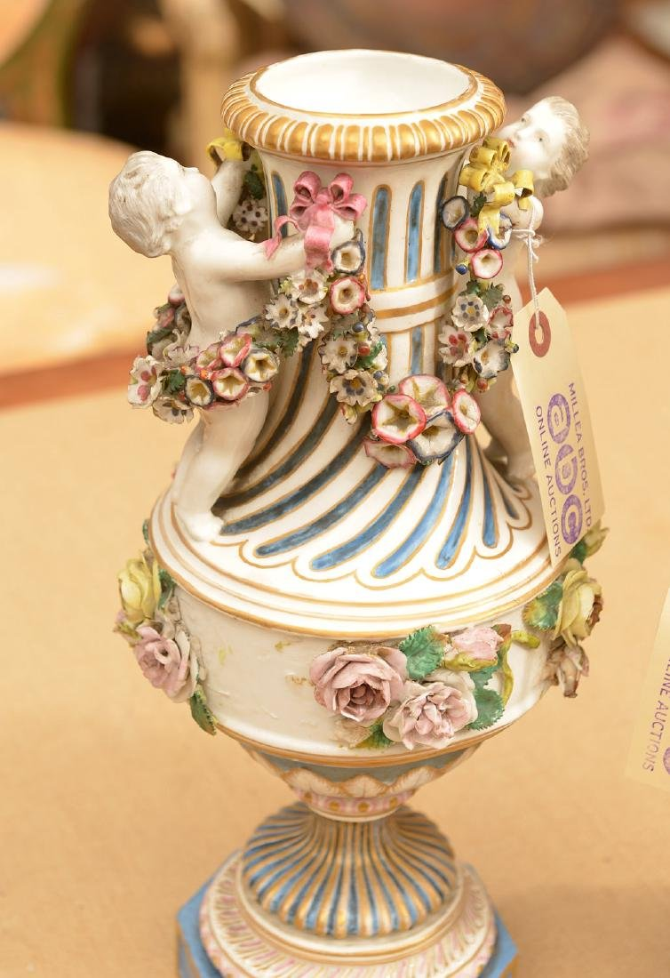 Pair Meissen style hand painted porcelain urns - 2