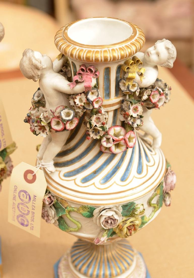 Pair Meissen style hand painted porcelain urns - 3