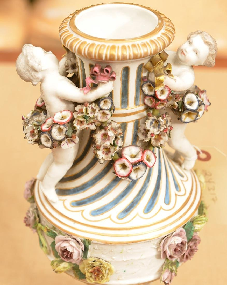 Pair Meissen style hand painted porcelain urns - 5
