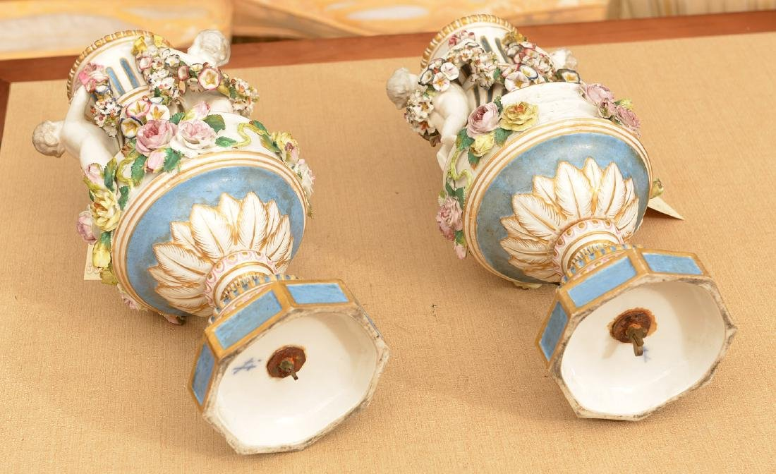 Pair Meissen style hand painted porcelain urns - 6