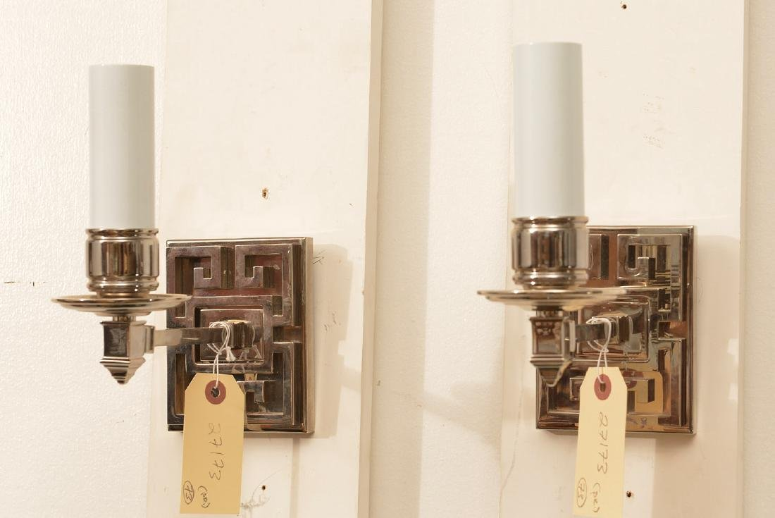 Pair polished nickel Greek key wall sconces