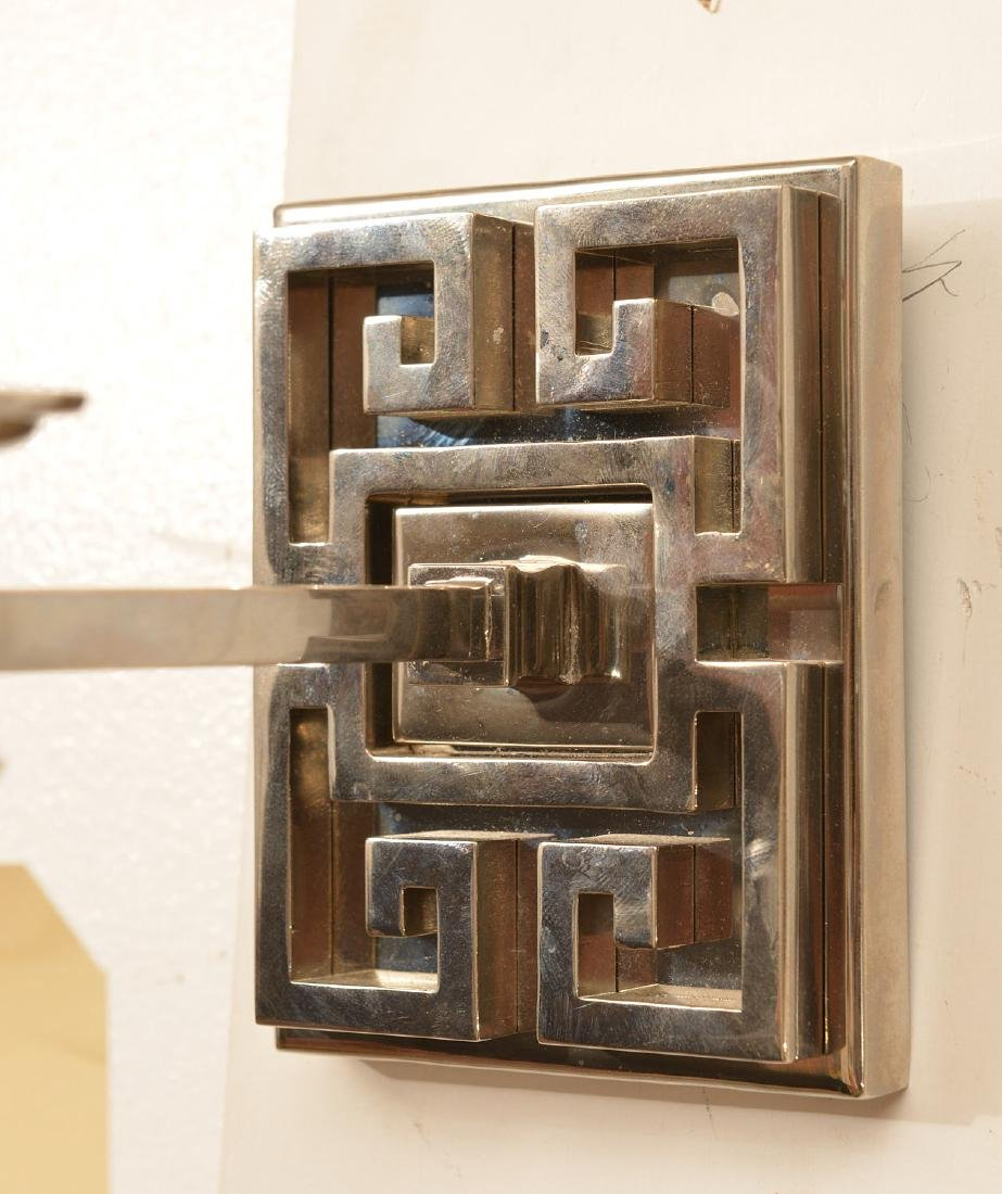 Pair polished nickel Greek key wall sconces - 2