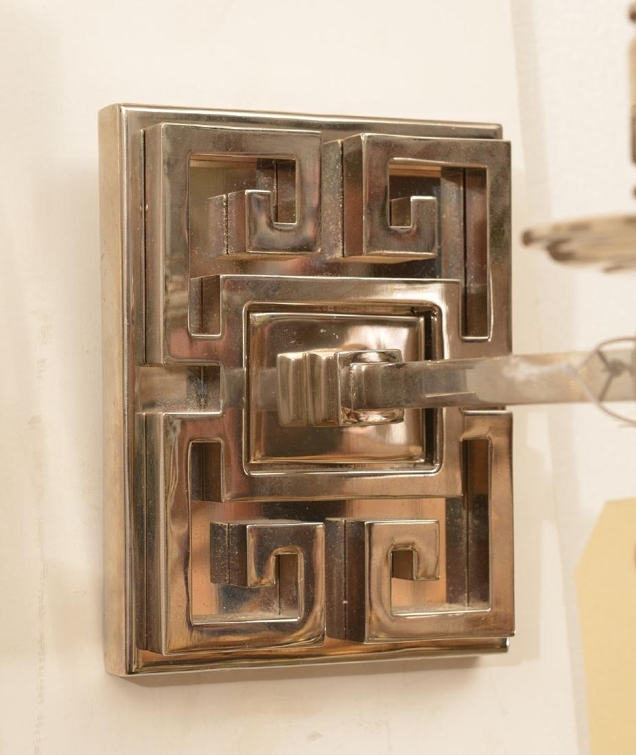 Pair polished nickel Greek key wall sconces - 3