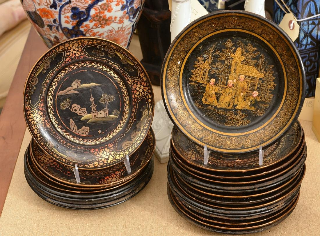 Collection (24) papier mache Chinoiserie plates