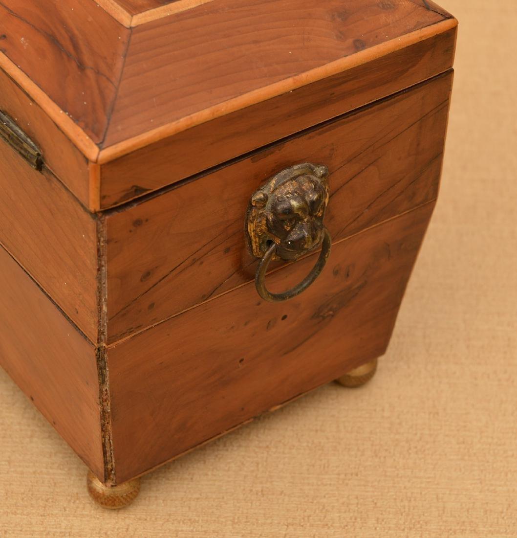 English Regency inlaid sarcophagus tea caddy - 3